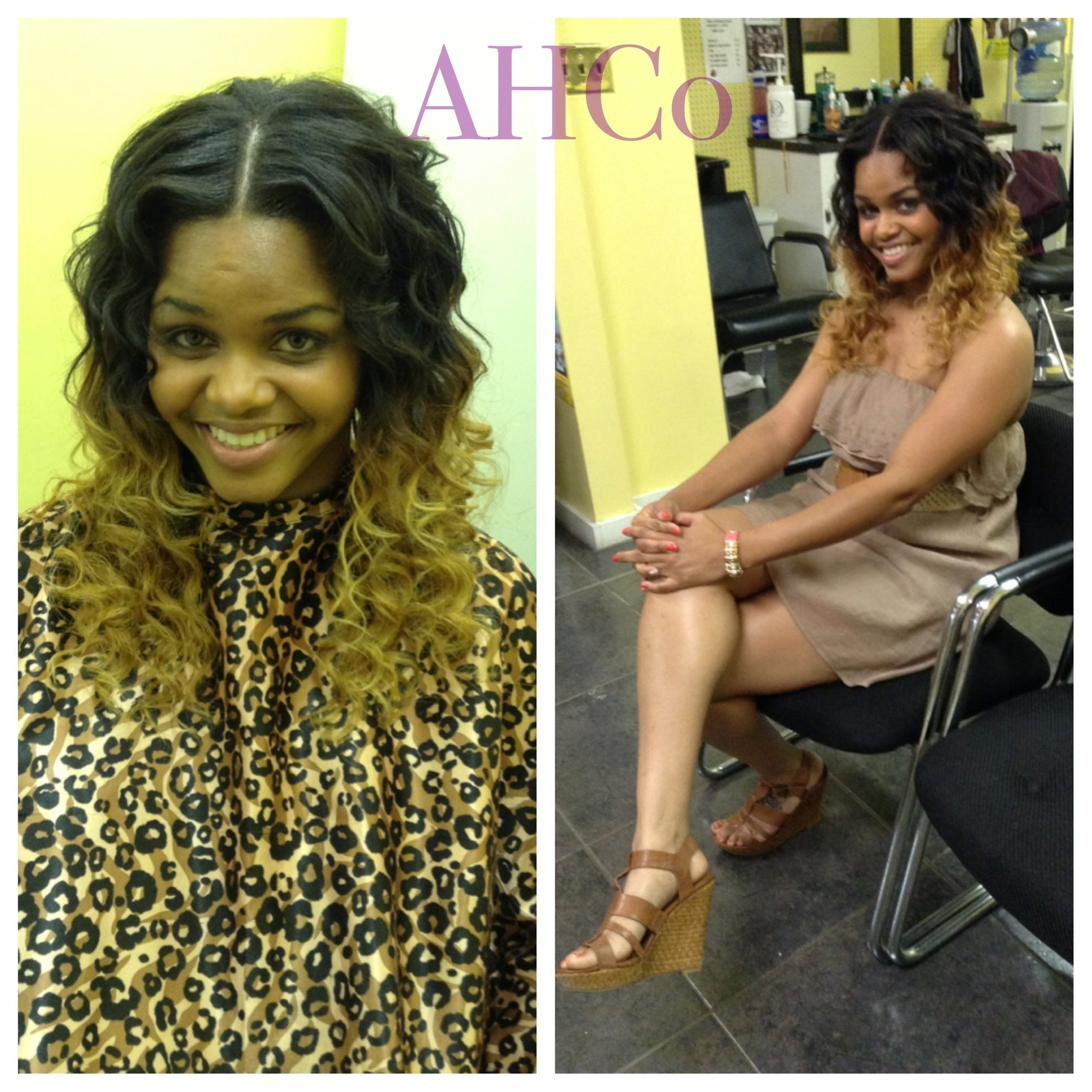 Rag curls Long wavy brown ombre hairstyle for women