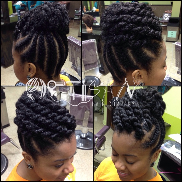 braided updo w/ jumbo marley twists | artisan hair company, llc